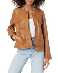 Lucky Brand Zip Front Leather Jacket - Brown