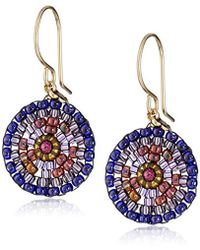Miguel Ases - Small Round Violet Earrings - Lyst
