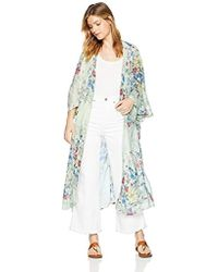 Steve Madden Long Floral Duster Kimono Cardigans Casual Cover Up Coat Outwear Top - Blue