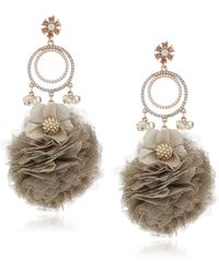 Badgley Mischka S Tulle Crystal Drop Earrings - Metallic