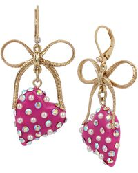 Betsey Johnson Heart & Bow Drop Earrings - Pink
