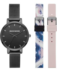 Skechers Sets Three-hand Stainless Steel Mesh Quartz Watch - Black