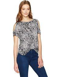 Calvin Klein - Short-sleeve Printed Cold Shoulder Top - Lyst
