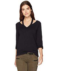 Bailey 44 Sarah V-neck Super Luxe Fleece Sweatshirt - Black