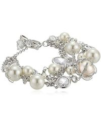"""Betsey Johnson - """"betsey Blue"""" Cubic Zirconia And Pearl Multi Row Toggle Bracelet - Lyst"""