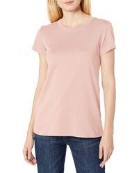 Lark & Ro Pima Cotton T-shirt: Crew Neck & - Pink