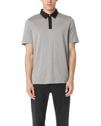 Theory Contrast Polo Shirt - Gray