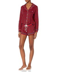 Tommy Hilfiger Long Sleeve Pj Top And Short Notch Collar Pajama Set - Red