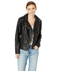 66f5813e23040 Lyst - Guess Collarless Leather Moto Jacket in Black