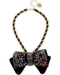 Betsey Johnson Rainbow Stone Bow Pendant Necklace - Black