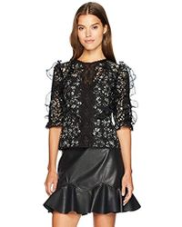 Rebecca Taylor Longsleeve Moonflower Embroidery Top - Black