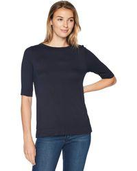 Lark & Ro Elbow-sleeve Boat Neck Shirt - Blue