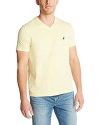 Nautica Short Sleeve Solid Classic Fit V-neck T-shirt - Yellow