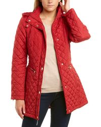 Vince Camuto Quilted Belted Trench V19703 (black) Women's Coat - Red