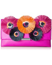 Loeffler Randall Tab Clutch (nappa/embroidered Flowers) - Pink