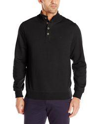 Dockers Button Mock Soft Acrylic Sweater - Black