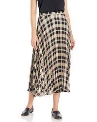 Vince Camuto Highland Plaid Pleated Midi Skirt - Black