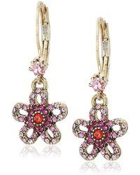 Betsey Johnson - Crystal Flower Drop Earrings, Pink, One Size - Lyst