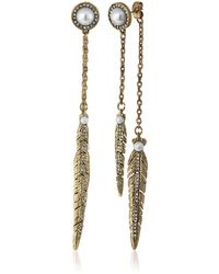 Rebecca Minkoff - Antique Gold With Pearl Feather Front Back Drop Earring - Lyst