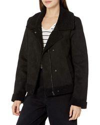 William Rast Womens Suzu Zip Up Sherpa Jacket - Black