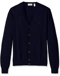 Lacoste Button Cardigan With Pique Stitch Long Sleeve Sweater, Ah7907-51 - Blue