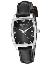Tissot - T0579101605700 Everytime Black Leather Black Dial Watch - Lyst