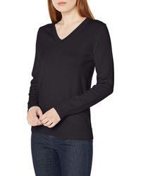 Amazon Essentials 100% Cotton Long-sleeve V-neck Sweater - Black