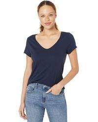 Michael Stars Jade Vintage Jersey Short Sleeve Soft V-neck Tee - Blue