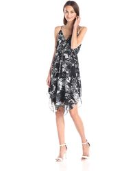 Twelfth Street Cynthia Vincent Print Handkerchief-hem Dress - Black