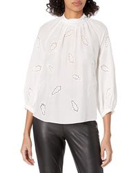 Rebecca Taylor Long Sleeve Paisley Embroidered Applique Silk Blouse - White