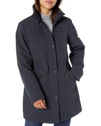 Vince Camuto Thigh-length Softshell Jacket With Faux Trimmed - Gray