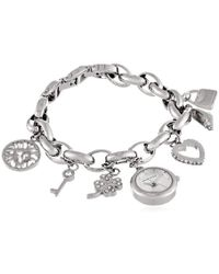 Anne Klein - 10-7605chrm Swarovski Crystal Silver-tone Charm Bracelet Watch - Lyst