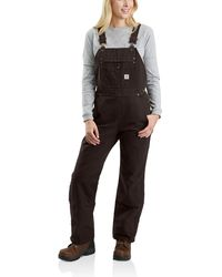 Carhartt Crawford Double Front Bib Overalls - Brown
