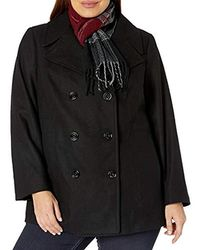 London Fog - Plus-size Double Breasted Peacoat With Scarf - Lyst
