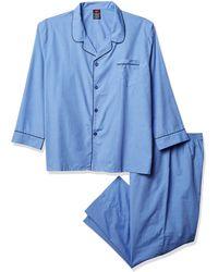 Hanes Woven Plain-weave Pajama Set Blue