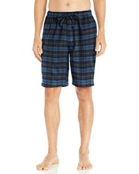 Goodthreads Flannel Pyjama Short Denim Navy Tartan - Blue
