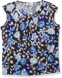 Kasper Painted Floral Print Asymmetric Knit Top - Blue