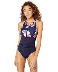 1acc2bdcb3 Nautica - Zip Up Short Sleeve Rashguard One Piece Swimsuit - Lyst