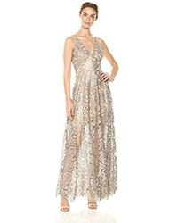 Dress the Population - Simone Plunging Sequin Lace Fit & Flare Sleeveless Gown - Lyst