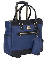 "Kenneth Cole Reaction Runway Call Nylon-twill 17"" Laptop & Tablet Anti-theft Rfid Wheeled Business Carry-on Tote - Blue"