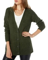Kensie Fuzzy Knit Cardigan - Green