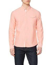 Scotch & Soda Ams Blauw Clean Oxford Shirt with Chest Pocket Camicia - Rosa