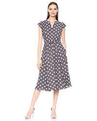 Anne Klein Cap Sleeve Drawstring Midi Dress - Multicolor