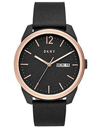 DKNY Gansevoort Stainless Steel Quartz Watch With Leather Strap, Black, 22 (model: Ny1605)