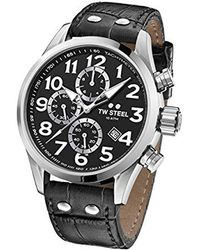 TW Steel - Volante Stainless Steel Quartz Leather Calfskin Strap, Black, 24 Casual Watch (model: Vs54) - Lyst