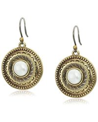 Lucky Brand - Etched Coin Pearl Drop Earrings - Lyst