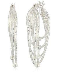 Napier - Silver Tone Layered Hoop Drop Earrings - Lyst
