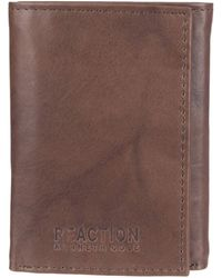 Kenneth Cole Reaction Rfid Leather Slim Trifold With Id Window And Card Slots - Brown