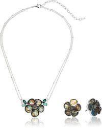 Napier Flower Pendant Stud Set Silver - Blue