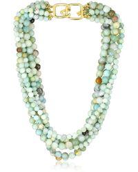 Kenneth Jay Lane 8 Row Jade Bead Necklace - Green